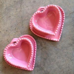 Williams-Sonoma Pink Ceramic Heart Ramekin & Dish